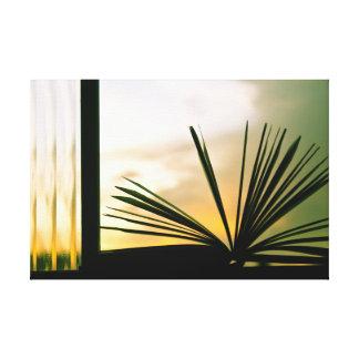 Abra a fotografia do livro e do por do sol impressão de canvas envolvidas