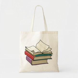 Abra a sacola do livro bolsa tote