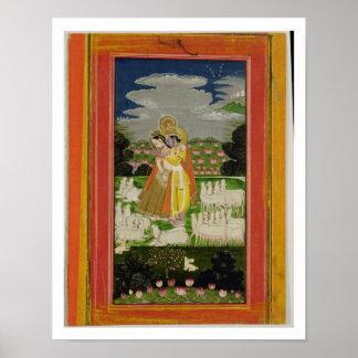 Abraço de Radha e de Krishna em um landscap ideali Poster