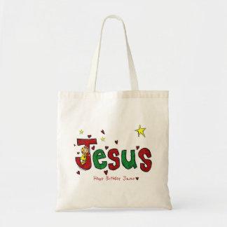 Abraço do aniversário de Jesus (Natal) Bolsa De Lona