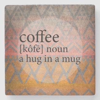 Abraço tribal do café do azulejo do arenito em porta copos de pedras
