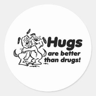 Abraços ou drogas? adesivo