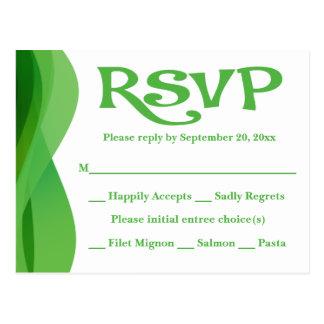 Absract verde & branco de RSVP acena a festa de Cartão Postal