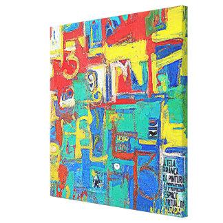 Abstração Azul Impressão De Canvas Esticada