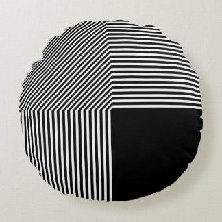 Abstracção geométrica, preto e branco almofada redonda