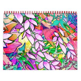 Abstrato 2014 floral da arte do Grunge do Calendário