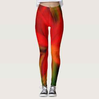 Abstrato alaranjado e verde brilhante leggings