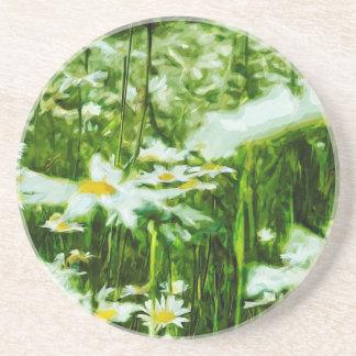 Abstrato branco da margarida de Oxeye floral Porta Copos De Arenito