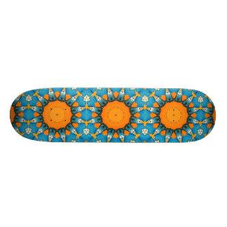 Abstrato da laranja e do azul shape de skate 20,6cm