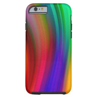 Abstrato delicado das ondas do arco-íris capa tough para iPhone 6