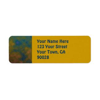 abstrato do amarelo de turquesa etiqueta endereço de retorno