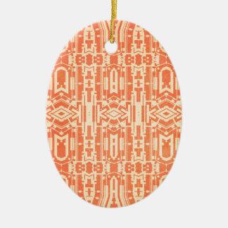 Abstrato do vermelho ornamento de cerâmica oval
