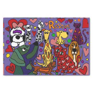 Abstrato engraçado do amor dos cães e gato do papel de seda