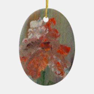 Abstrato exótico 2 florais do impressionista da ornamento de cerâmica oval