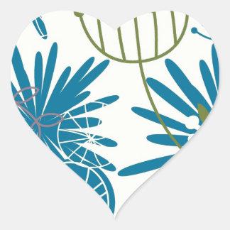 Abstrato floral adesivo coração