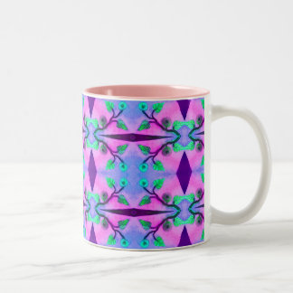 Abstrato floral caneca dois tons