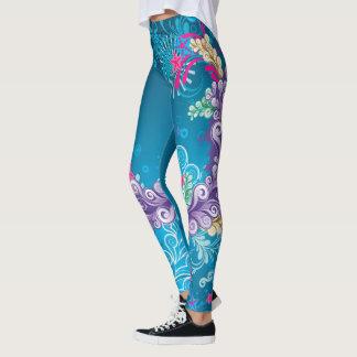 Abstrato floral colorido leggings