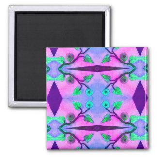 Abstrato floral ímã quadrado