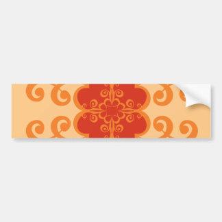 Abstrato floral na laranja adesivo para carro
