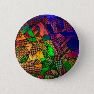 Abstrato geométrico colorido, Textured rico Bóton Redondo 5.08cm