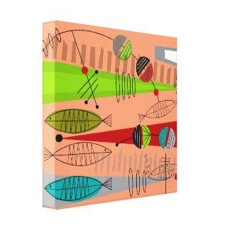 Abstrato moderno dos peixes do meio século impressão em canvas