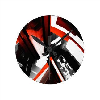 Abstrato preto e branco vermelho relógio redondo