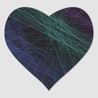 Abstrato roxo da mostra do laser do verde azul adesivo em forma de coração