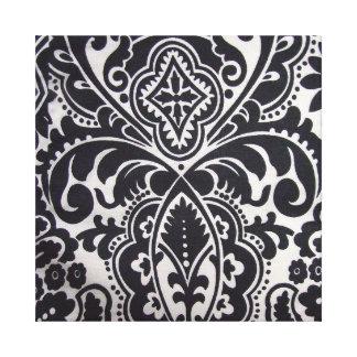 abtrato do padrão um branco do preto e impressão em tela canvas