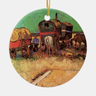 Acampamento de caravana dos ciganos por Vincent Ornamento De Cerâmica Redondo