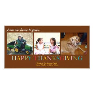 Acção de graças colorida de nossa casa a seu cartão com foto