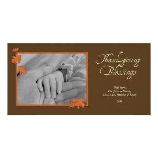 Acção de graças de queda alaranjada marrom elegant cartão com foto