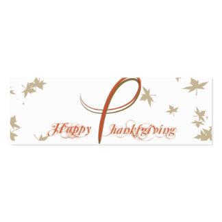 Acção de graças elegante Placecard da laranja e do Cartão De Visita Skinny
