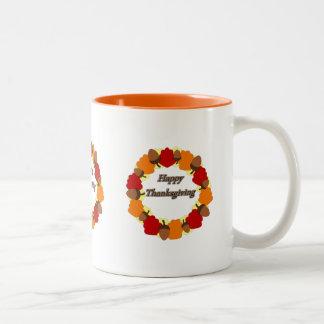 Acção de graças feliz do ~ da grinalda caneca de café em dois tons
