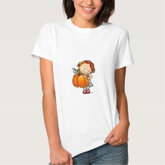 Acção de graças feliz - menina bonito com uma t-shirts