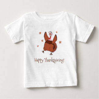 Acção de graças feliz Turquia engraçada unisex Camiseta Para Bebê