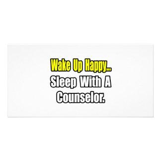 Acorde… o sono feliz com um conselheiro cartoes com fotos