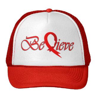 Acredite (Fita-Camionista vermelho) Boné