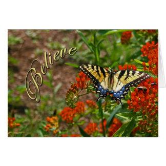 Acredite w/Butterfly & flores Cartão