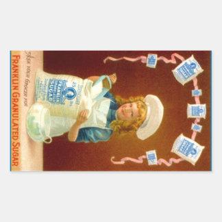 Açúcar granulado da menina do anúncio do vintage adesivo retangular