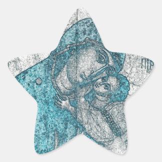 Adesito Estrela Azul do vintage do retrato do anjo de Jesus do