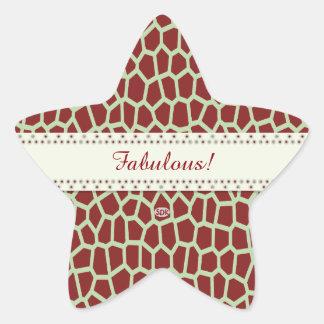 Adesito Estrela Impressão do girafa de Brown da cor da picareta de
