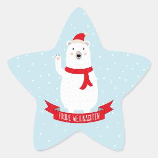 """Adesito Estrela Weihnachts delicada urso branco """"Feliz Natal """""""