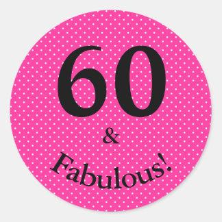 Adesivo 60 & bolinhas cor-de-rosa brilhantes do