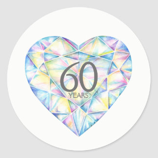 Adesivo 60 do diamante do coração da aguarela anos de