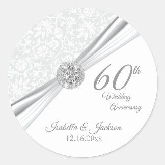 Adesivo 60th Aniversário de casamento branco do diamante