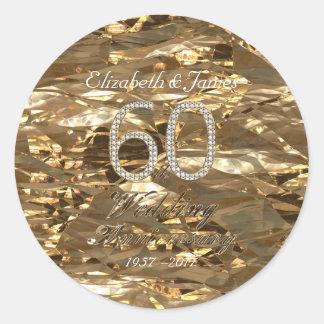 Adesivo 60th Aniversário de casamento do diamante do