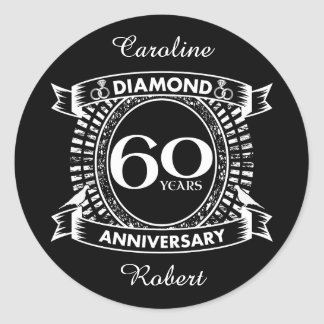 Adesivo 60th crista do diamante do aniversário de