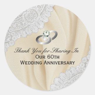 Adesivo 60th Obrigado do aniversário de casamento do