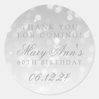 Adesivo 60th Obrigado do aniversário você prateia a luz da
