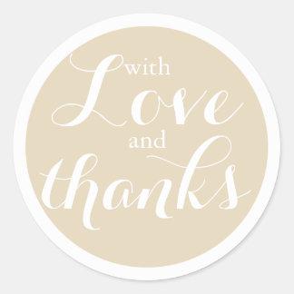 Adesivo Amor bege neutro bonito e obrigados que Wedding